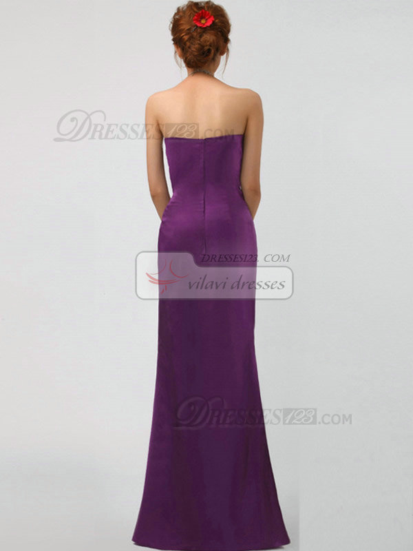 Over Hip Tube Top Floor-length Stretch Satin Crystal Evening Dresses With Side-draped