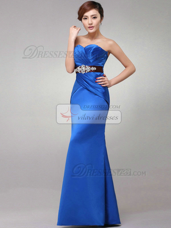 Mermaid Sweetheart Floor-length Stretch Satin Side-draped Evening Dresses With Crystal