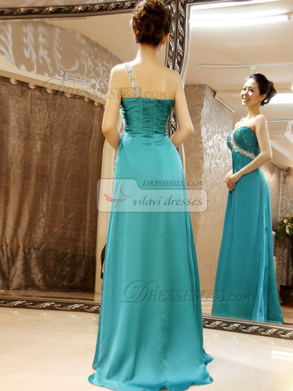 Column One Shoulder Sweep Stretch Satin Crystal Beading Prom Dresses