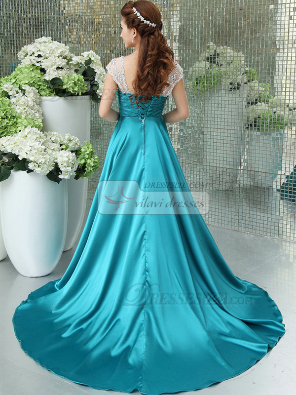 A-line Straps Floor-length Stretch Satin Crystal Cap Sleeves Prom Dresses With Side-draped