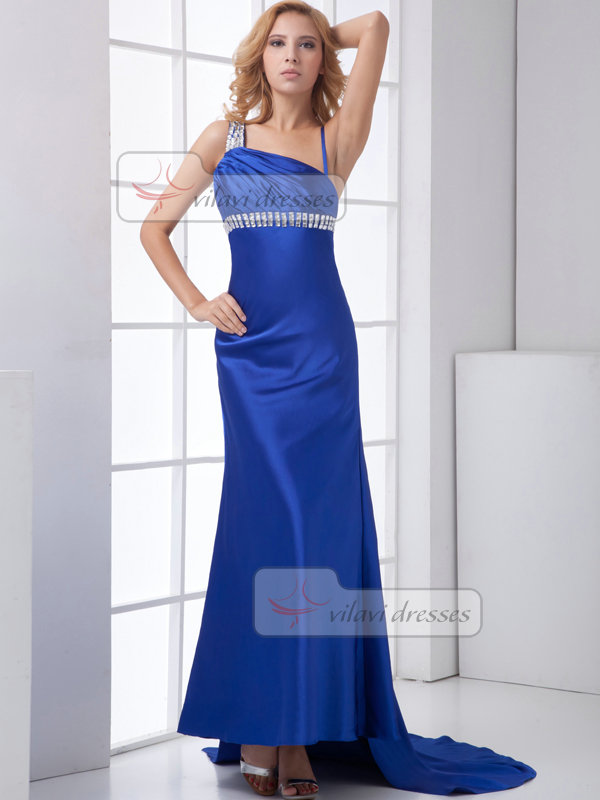 A-line Asymmetrical Collar Sweep Stretch Satin Crystal Evening Dresses