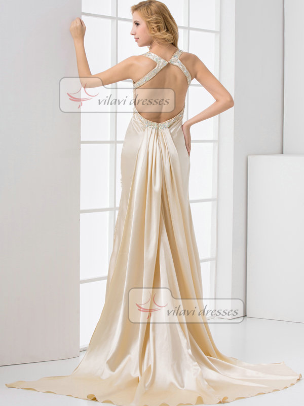 Mermaid Straps Sweep Stretch Satin Crystal Open Back Prom Dresses
