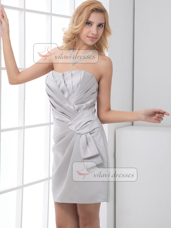 Column Sweetheart Short Stretch Satin Side-draped Cocktail Dresses