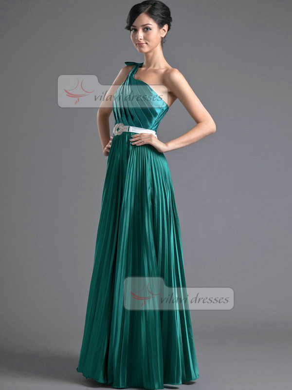 A-line One Shoulder Floor-length Stretch Satin Crystal Prom Dresses With Bowknot