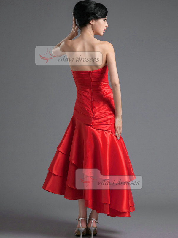 Over Hip Tube Top Asymmetrical Stretch Satin Tiered Prom Dresses