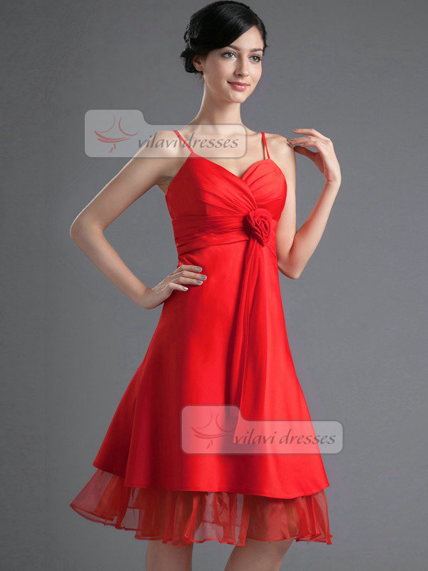 A-line Spaghetti Straps Knee-length Stretch Satin Homecoming Dresses With Flower
