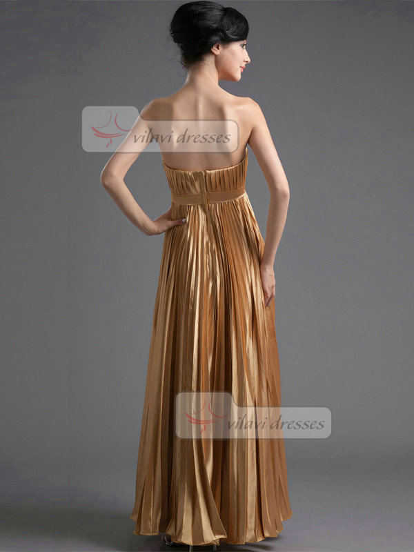 A-line Tube Top Floor-length Stretch Satin Draped Crystal Prom Dresses