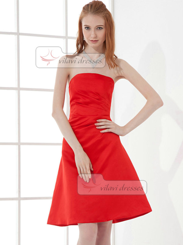 A-line Strapless Short Stretch Satin Side-draped Cocktail Dresses