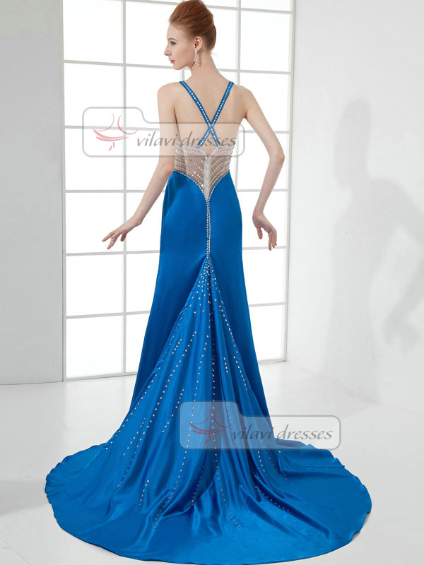 A-line V-neck Sweep Stretch Satin Sequin Beading Prom Dresses With Semi Transparent