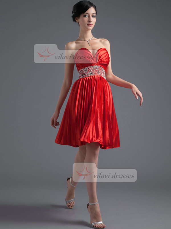 A-line Sweetheart Knee-length Stretch Satin Sequin Cocktail Dresses