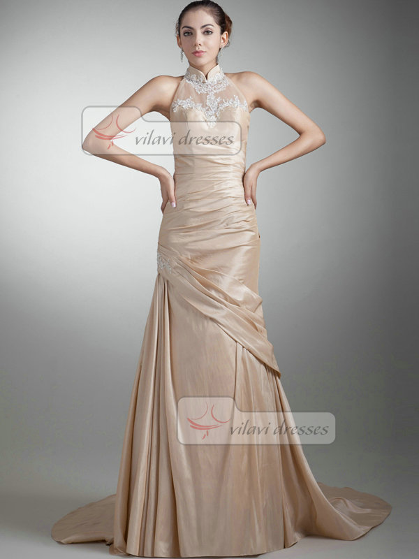 Mermaid Stand Collar Sweep Stretch Satin Appliques Prom Dresses With Semi Transparent