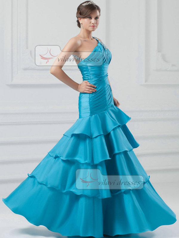 Mermaid One Shoulder Floor-length Stretch Satin Beading Evening Dresses