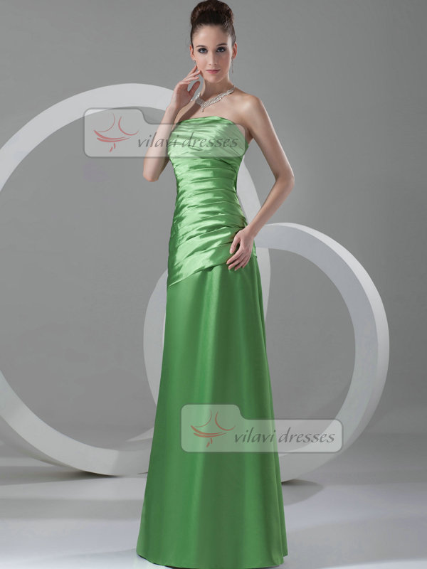 Over Hip Strapless Floor-length Stretch Satin Tiered Evening Dresses