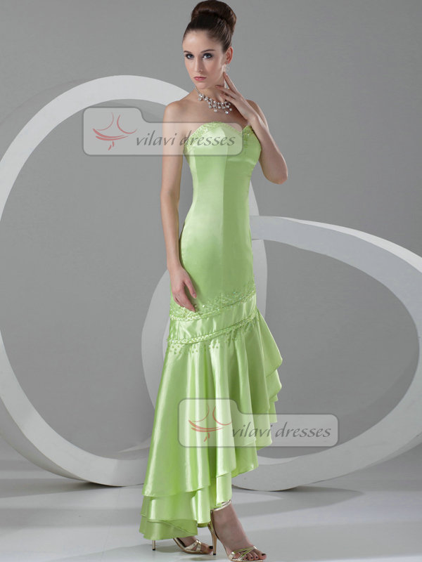 Over Hip Strapless Ankle-length Stretch Satin Beading Prom Dresses
