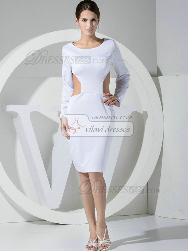 Luxurious Sheath Taffeta Round Brought  Cocktail Dresses