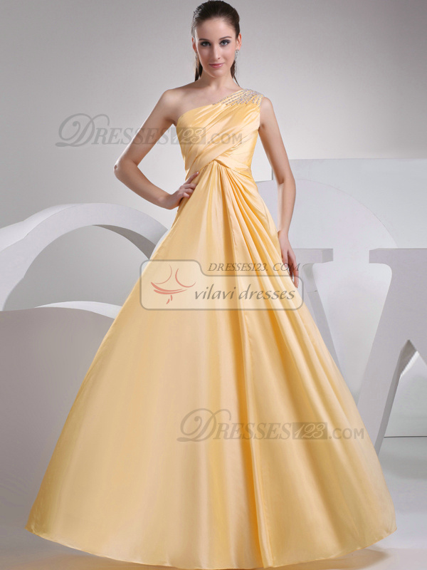 Luxurious A-line Taffeta One shoulder Beading Evening Dresses