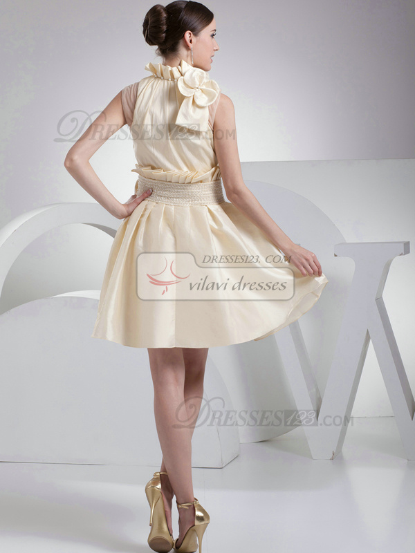 Appealing A-Line Taffeta High neck Bowknot Bridesmaid Dresses