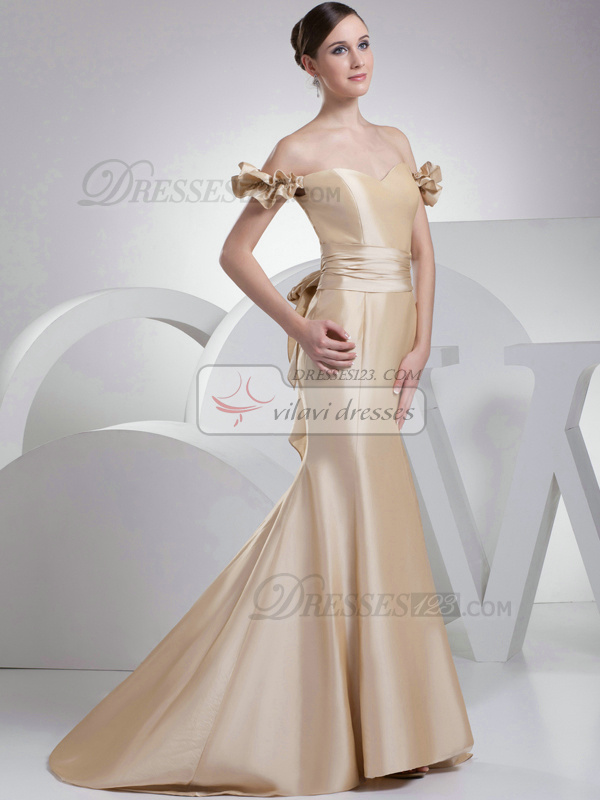 Noble Mermaid/Trumpet Taffeta Off-the-shoulder Sweep Prom Dresses