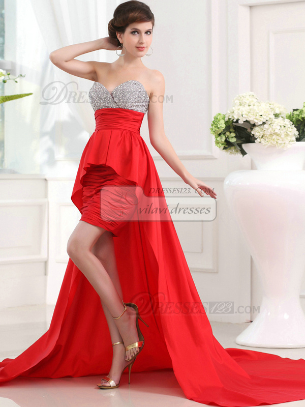 Brilliant Sheath/Column Taffeta Asymmetrical Train Beading Prom Dresses