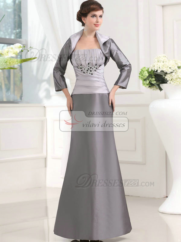 Retro Mermaid/Trumpet Taffeta Floor-length Crystal Prom Dresses With 3/4 Length Sleeve Jacket