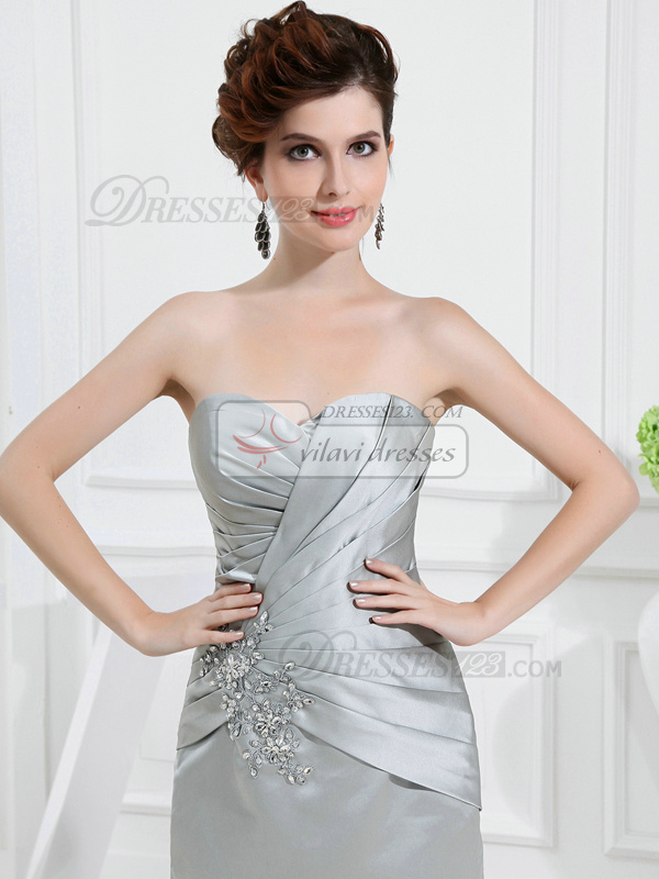 Intelligent Sheath/Column Taffeta Sweetheart Tea-length Prom Dresses With 3/4 Length Sleeve Jacket