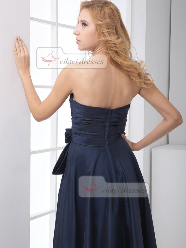 A-line Sweetheart Floor-length Taffeta Flower Evening Dresses