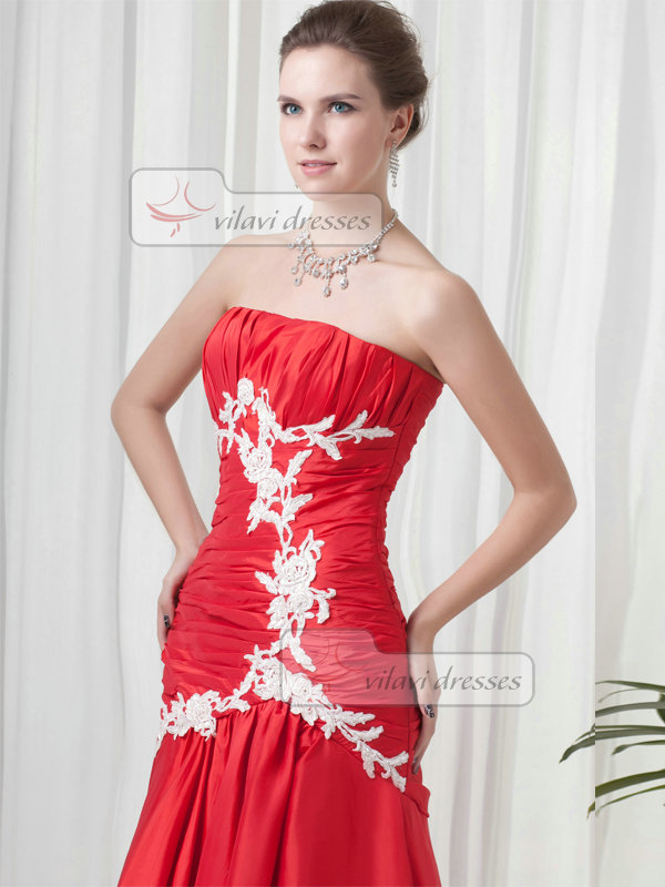 Over Hip Strapless Floor-length Taffeta Beading Sequin Prom Dresses