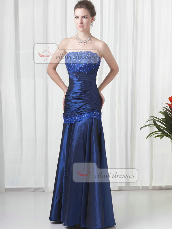 Over Hip Strapless Floor-length Taffeta Sequin Beading Prom Dresses