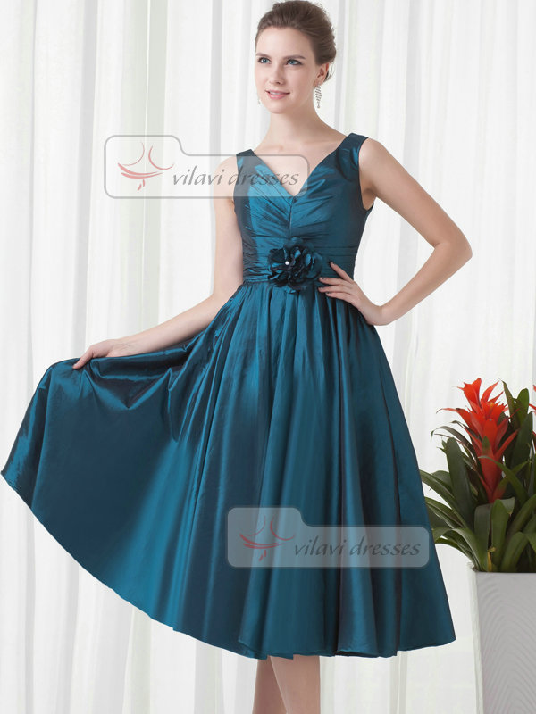 A-line V-neck Tea-length Taffeta Flower Draped Prom Dresses