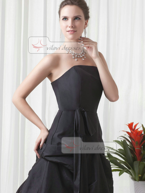 A-line Strapless Floor-length Taffeta Pick-Ups Evening Dresses