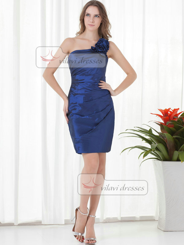 Sheath One Shoulder Short Taffeta Tiered Cocktail Dresses