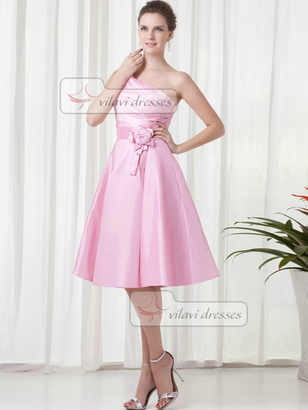 A-line One Shoulder Knee-length Taffeta Flower Cocktail Dresses