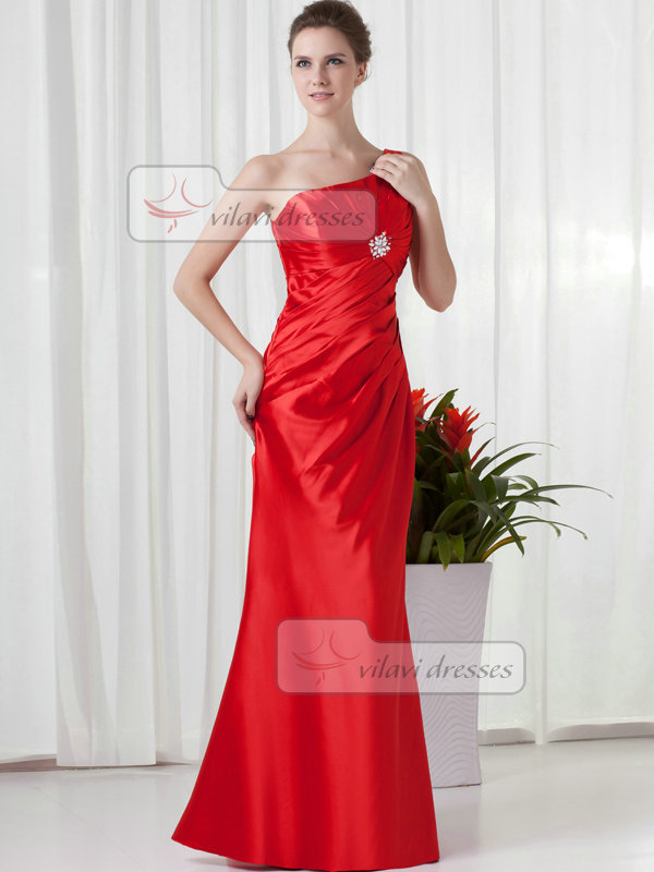 Over Hip One Shoulder Floor-length Taffeta Crystal Sequin Evening Dresses