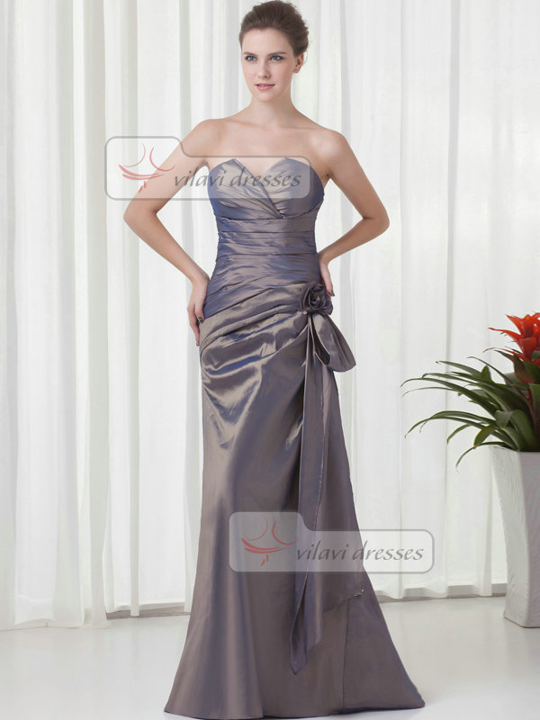 Column Strapless Floor-length Taffeta Side-draped Flower Evening Dresses