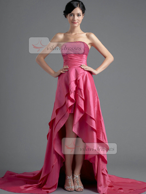 A-line Tube Top Sweep Taffeta High Low Sequin Tiered Prom Dresses