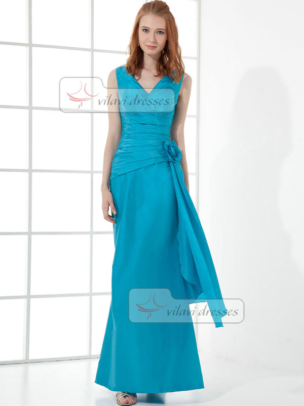 Mermaid Straps Floor-length Taffeta Flower Tiered Evening Dresses
