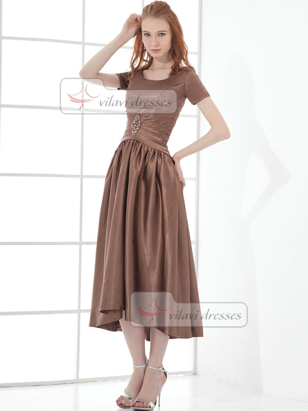 A-line Scoop Tea-length Taffeta Short Sleeve Beading Prom Dresses