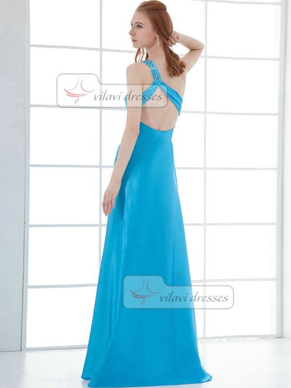 A-line One Shoulder Brush Train Taffeta Split Front Prom Dresses With Crystal