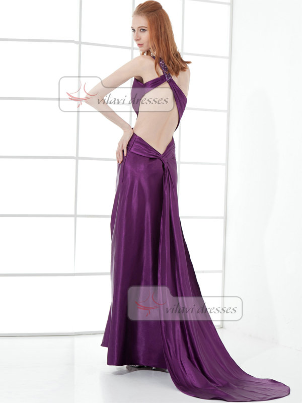 A-line One Shoulder Brush Train Taffeta Open Back Split Front Prom Dresses