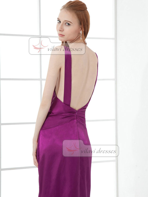 Sheath Straps Ankle-length Taffeta Open Back Sequin Prom Dresses