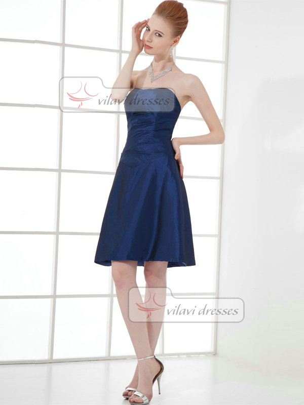 A-line Strapless Knee-length Taffeta Tiered Cocktail Dresses