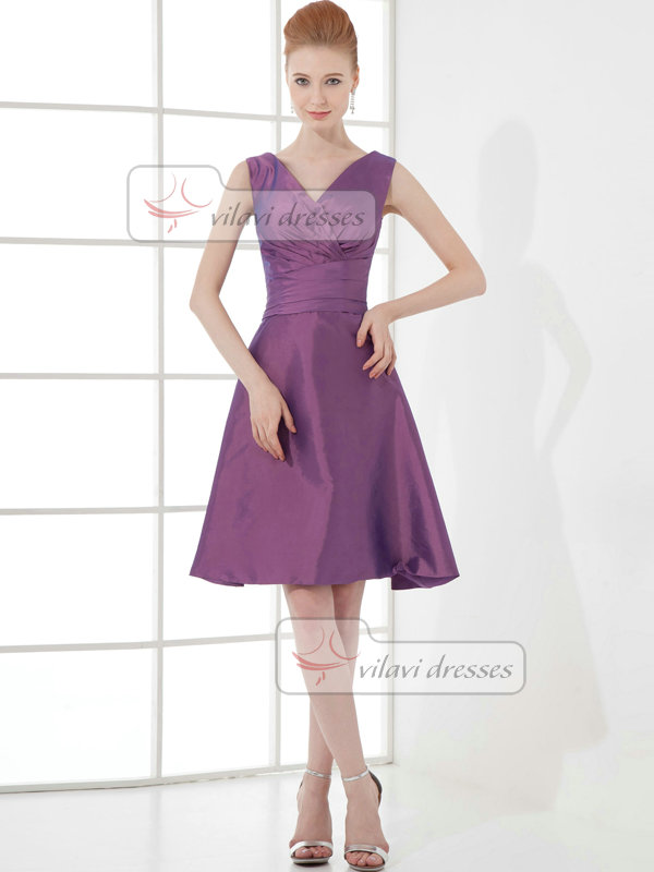 A-line V-neck Straps Knee-length Taffeta Tiered Cocktail Dresses