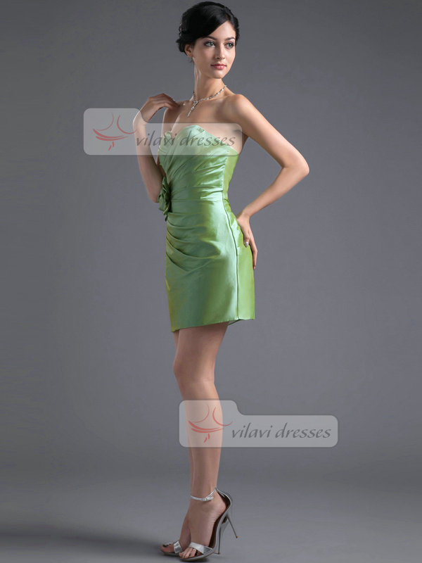 Column Sweetheart Short Taffeta Flower Side-draped Prom Dresses
