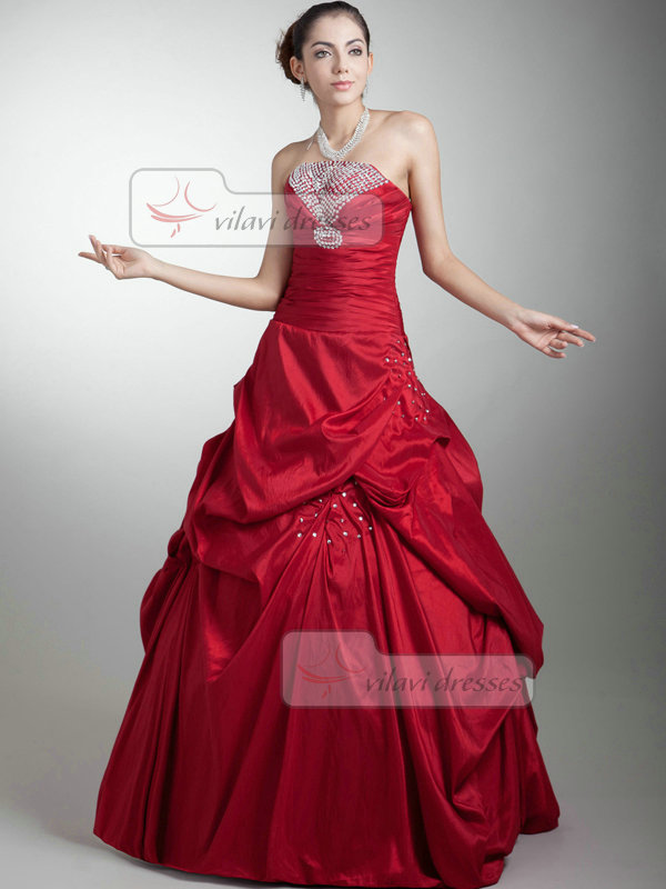 Ball Gown Tube Top Floor-length Taffeta Beading Pick-Ups Prom Dresses