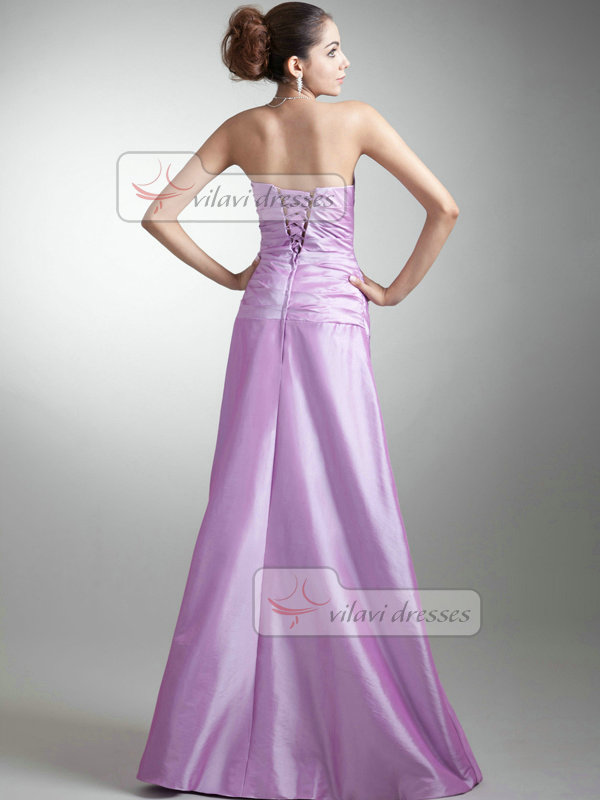Over Hip Tube Top Floor-length Taffeta Beading Evening Dresses