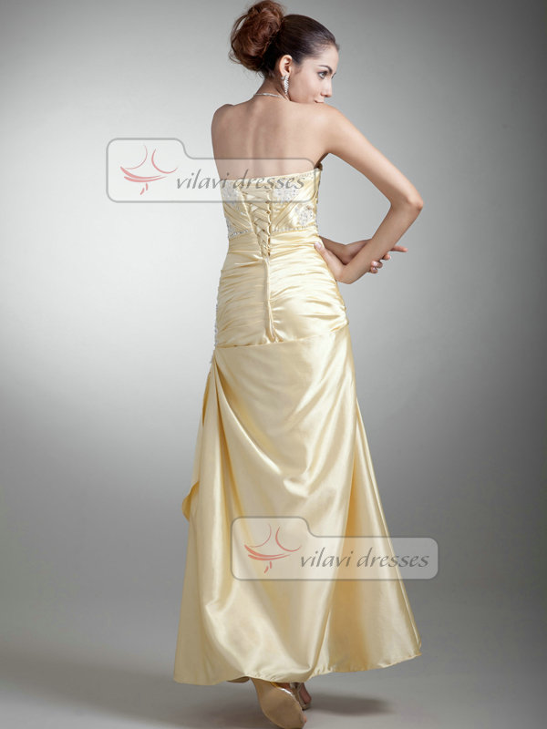 Over Hip Strapless Ankle-length Taffeta Beading Sequin Prom Dresses