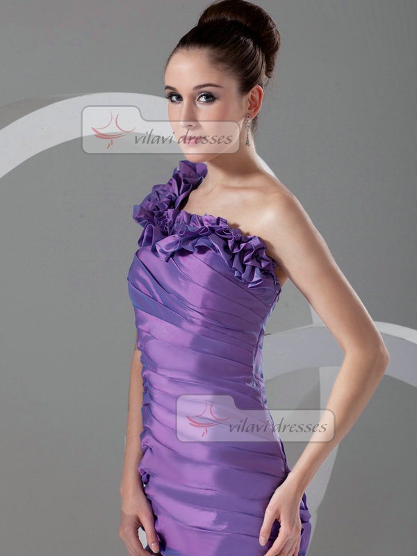 Mermaid One Shoulder Floor-length Taffeta Tiered Evening Dresses