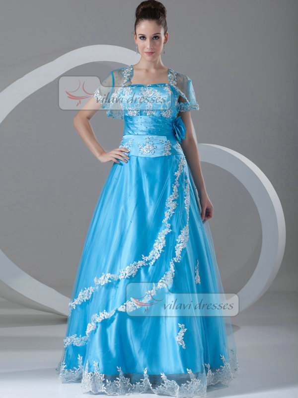 A-line Sweetheart Floor-length Taffeta Short Sleeve Beading Prom Dresses With Jacket