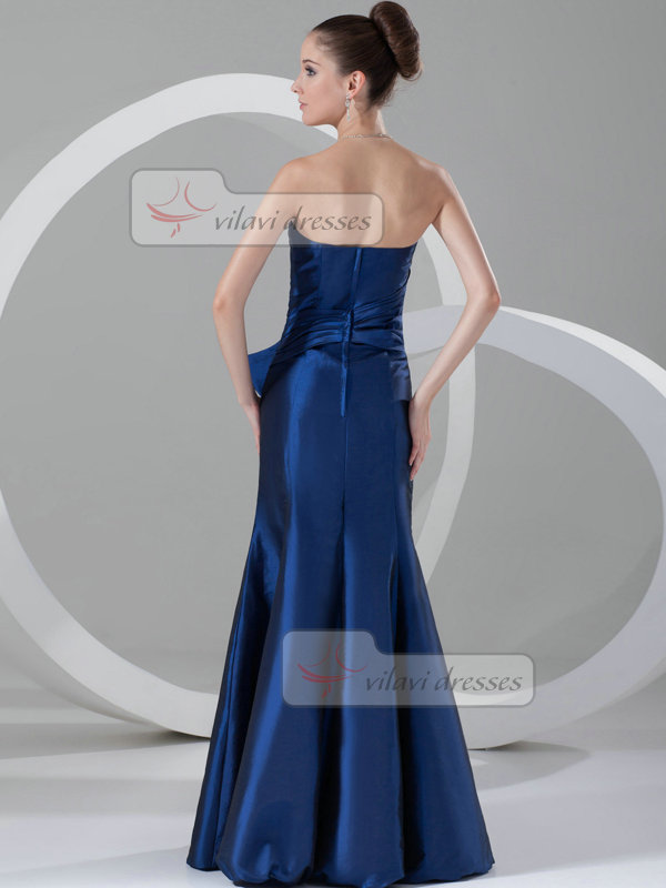 Mermaid Strapless Floor-length Taffeta Crystal Evening Dresses