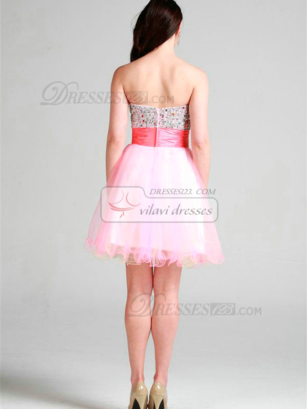 Noble A-line Tulle Short/Mini Beading Homecoming/Prom Dresses